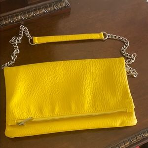 Express yellow fold over shoulder bag